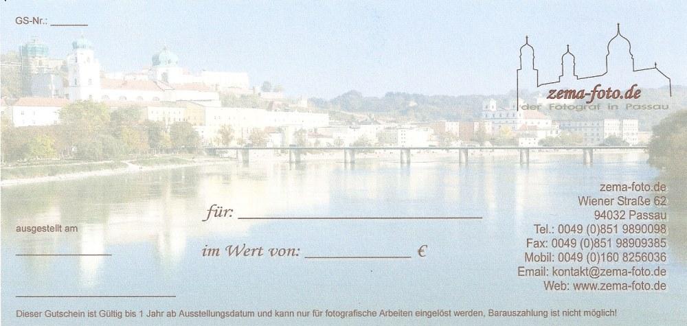 Geschenkgutschein für Deine Fotos bei zema-foto.de in Passau - Rückseite